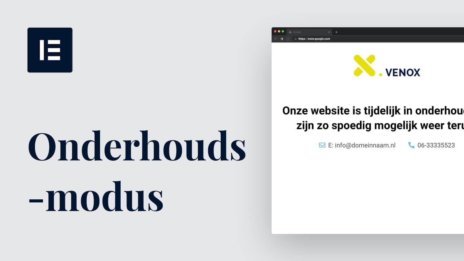 Je website in onderhoudsmodus zetten met Elementor